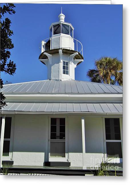 Cedar Key Greeting Cards - The Back Of The Lighthouse Greeting Card by D Hackett