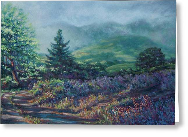 Mountain Valley Pastels Greeting Cards - The Back Road In Greeting Card by Denise Horne-Kaplan