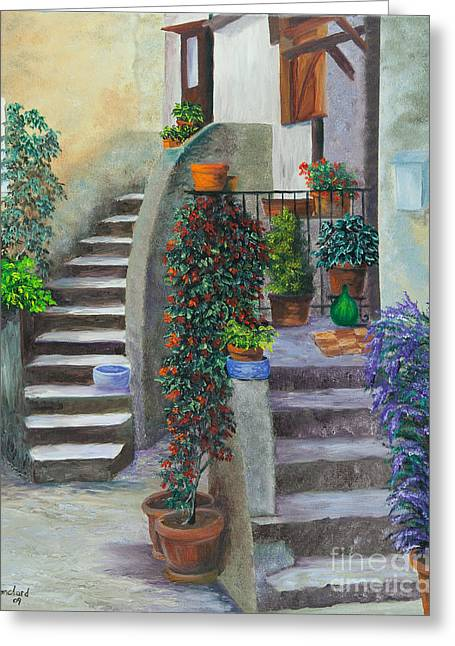 The Back Stairs Greeting Card by Charlotte Blanchard