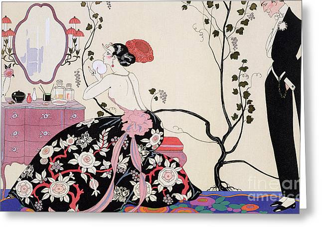 Powder Greeting Cards - The Backless Dress Greeting Card by Georges Barbier