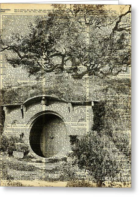 Digital Media Drawings Greeting Cards - The Bag End Hobbit House over Dictionary Page Greeting Card by Jacob Kuch