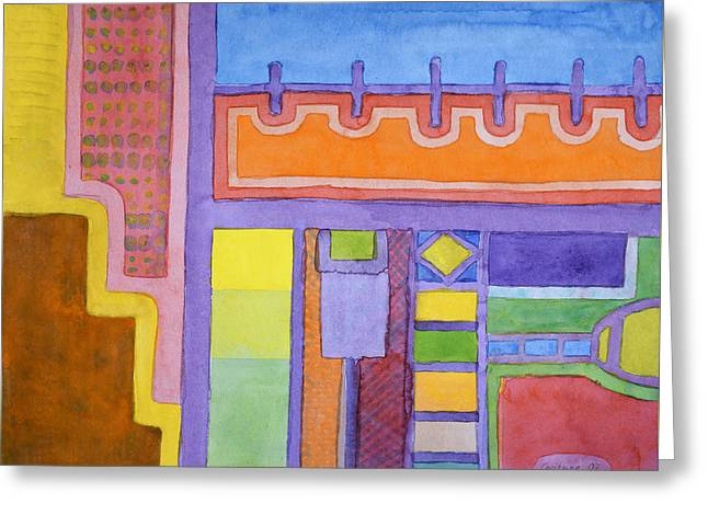 Geometric Design Greeting Cards - The Balcony Greeting Card by Heidi Capitaine