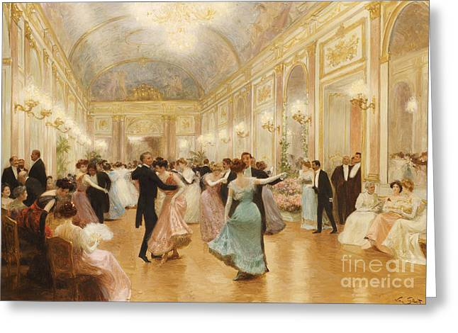 Interiors Greeting Cards - The Ball Greeting Card by Victor Gabriel Gilbert