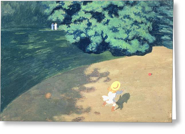 The Ball Greeting Cards - The Balloon or Corner of a Park with a Child Playing with a Balloon Greeting Card by Felix Edouard Vallotton