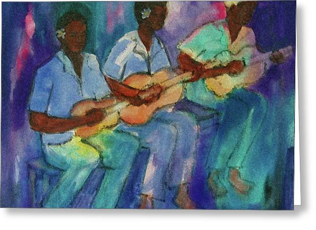 Ukelele Greeting Cards - The Band Boys Greeting Card by Karen Bower