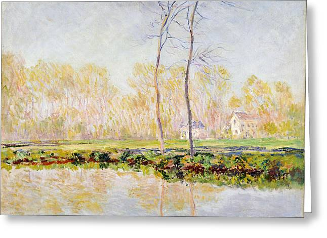 On The Banks Greeting Cards - The Banks of the River Epte at Giverny Greeting Card by Claude Monet