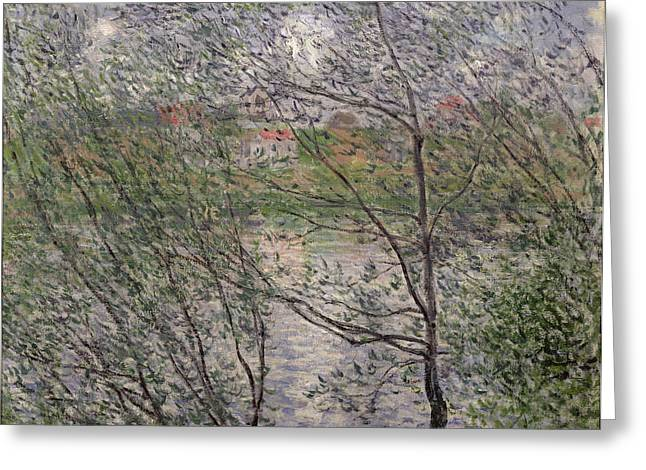 The Banks of the Seine Greeting Card by Claude Monet