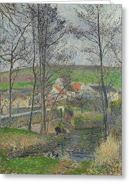 The Banks Of The Viosne At Osny In Grey Weather, Winter Greeting Card by Camille Pissarro