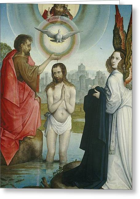 Born Again Greeting Cards - The Baptism Of Christ Greeting Card by Juan De Flandes