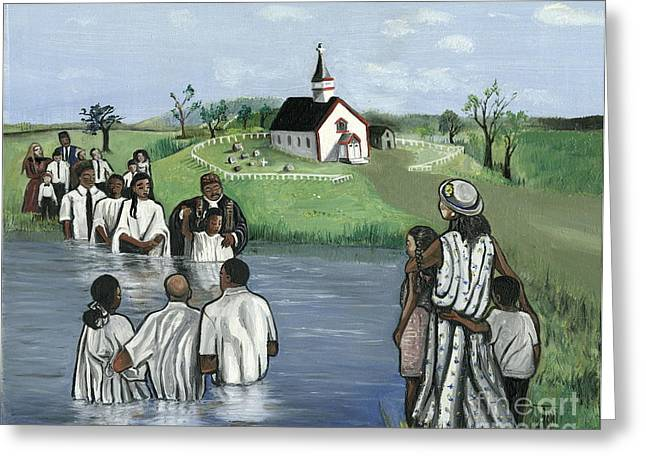Baptism Greeting Cards - The Baptism Greeting Card by Toni  Thorne