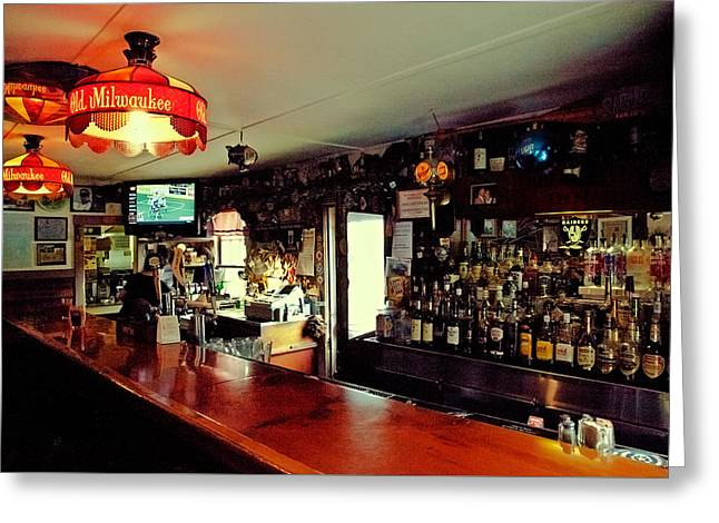 Labelled Greeting Cards - The Bar at Drakes Inn Greeting Card by David Patterson