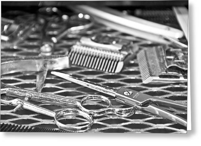 Scissors Greeting Cards - The Barber Shop 10 BW Greeting Card by Angelina Vick