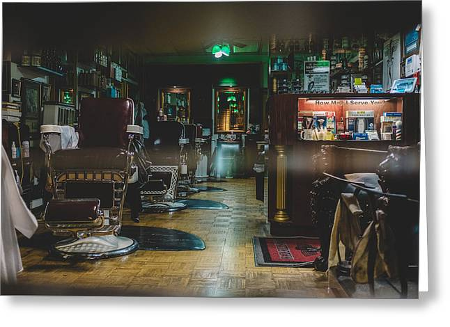 Empty Chairs Greeting Cards - The Barber Shop Greeting Card by Asham D Silva