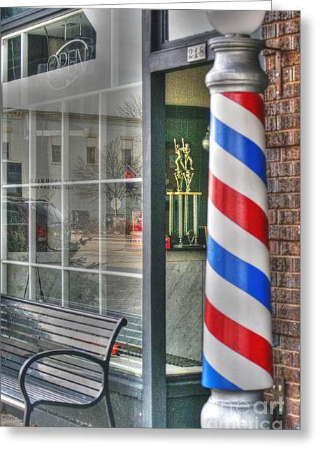Main Street Greeting Cards - The Barber Shop Greeting Card by David Bearden