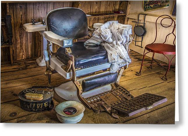 Saloons Greeting Cards - The Barbers Chair Greeting Card by Debra and Dave Vanderlaan
