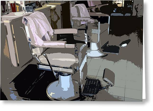Barber Chair Greeting Cards - The barbers chairs Greeting Card by David Lee Thompson