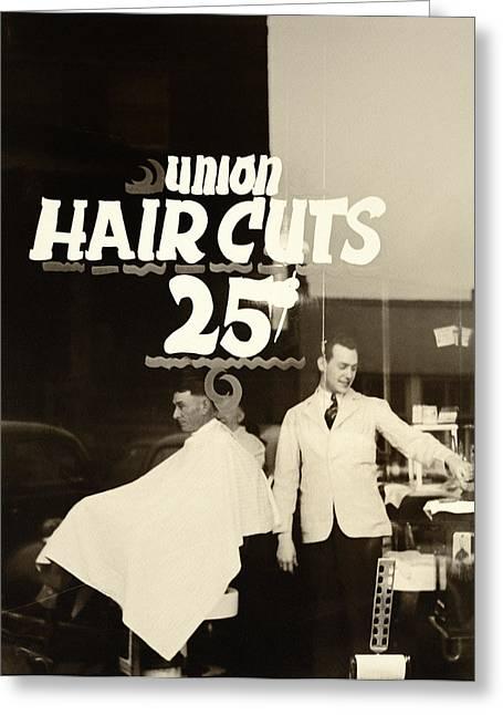 Barbershops Greeting Cards - The Barbershop Window Greeting Card by Digital Reproductions