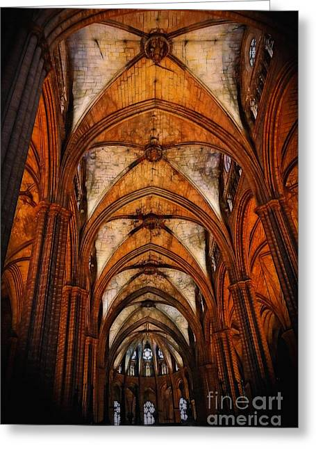 Europe Greeting Cards - The Barcelona Cathedral Ceiling Greeting Card by Sue Melvin