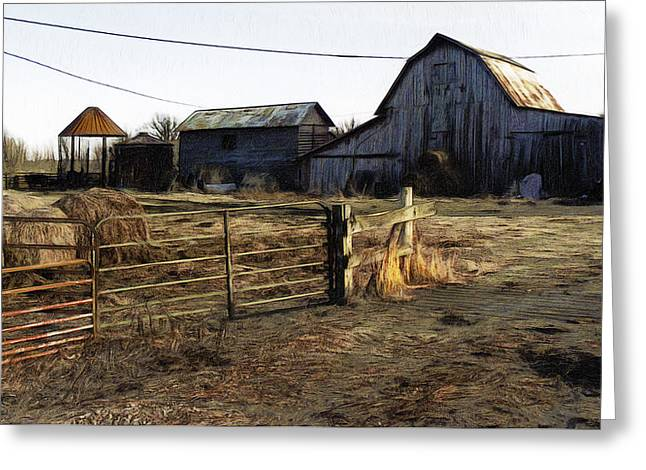Abstract Digital Digital Greeting Cards - The Barn Across The Road Greeting Card by Joe Paradis