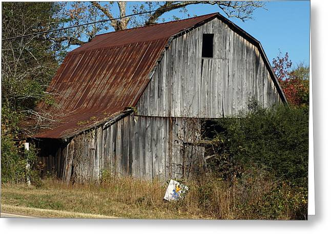 Red Roofed Barn Greeting Cards - The Barn by the Road Greeting Card by Mike Stanfield