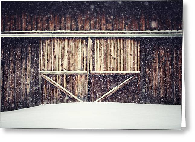The Barn in Winter Greeting Card by Lisa Russo