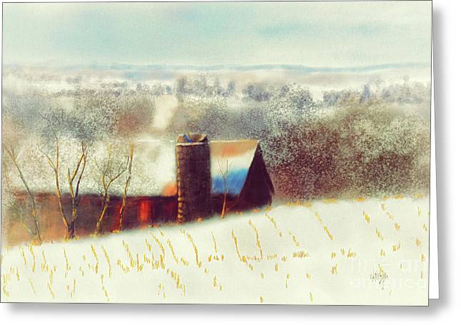 The Barn Over The Hill Greeting Card by Lois Bryan