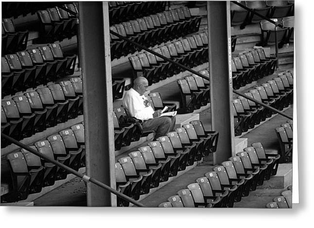 The Baseball Fan II In Bw Greeting Card by Frank Romeo