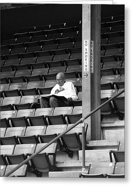 The Baseball Fan In Bw Greeting Card by Frank Romeo
