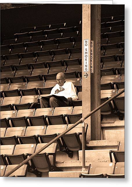The Baseball Fan In Sepia Greeting Card by Frank Romeo