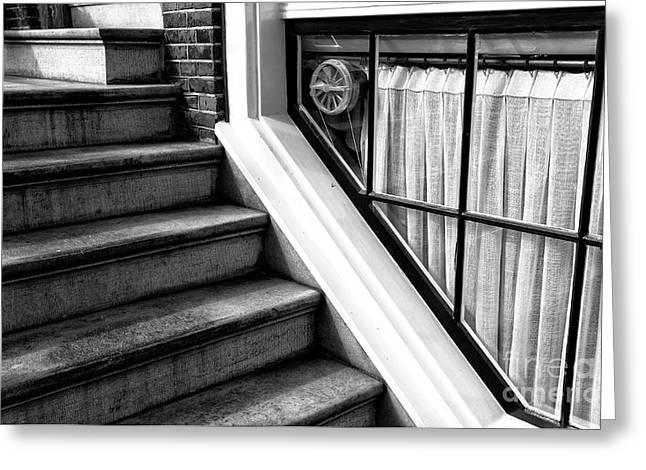 The Basement Window Mono Greeting Card by John Rizzuto