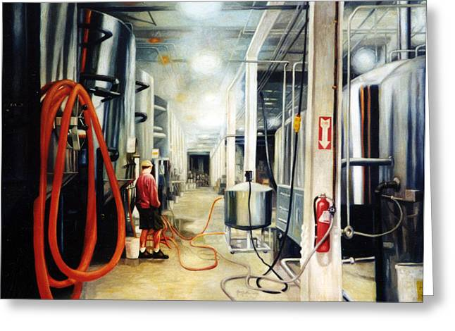 Sweat Paintings Greeting Cards - The Bashful Brewer Greeting Card by Gregg Hinlicky