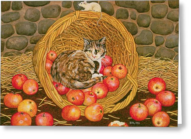 Overturn Greeting Cards - The Basket Mouse Greeting Card by Ditz