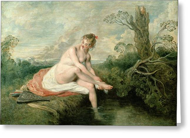 The Bath Of Diana Greeting Card by Jean Antoine Watteau
