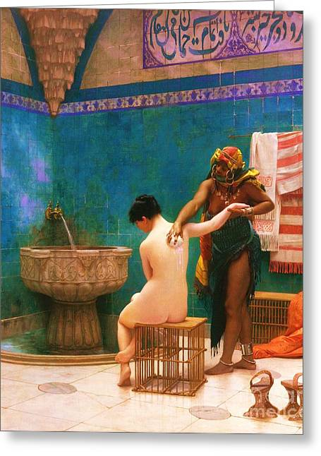 Gerome Paintings Greeting Cards - The Bath Greeting Card by Pg Reproductions