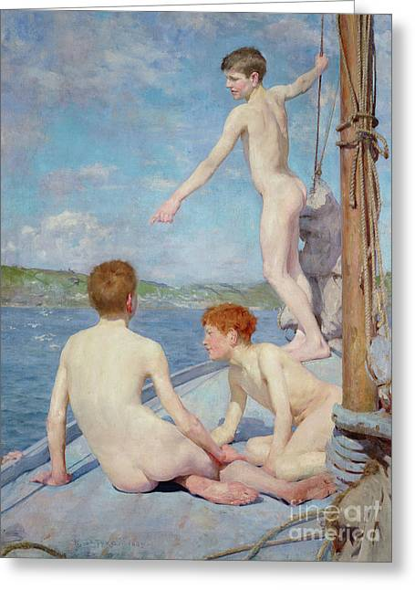 The Bathers, 1889 Greeting Card by Henry Scott Tuke