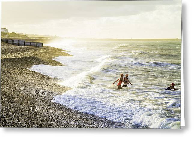 Beach Greeting Cards - The Bathers Greeting Card by Russell Styles