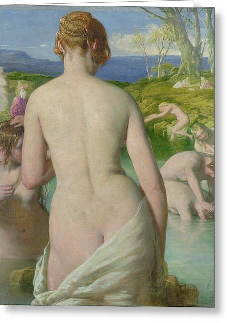 Beautiful Creek Paintings Greeting Cards - The Bathers Greeting Card by William Mulready