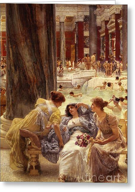 Classical Paintings Greeting Cards - The Baths of Caracalla Greeting Card by Sir Lawrence Alma-Tadema