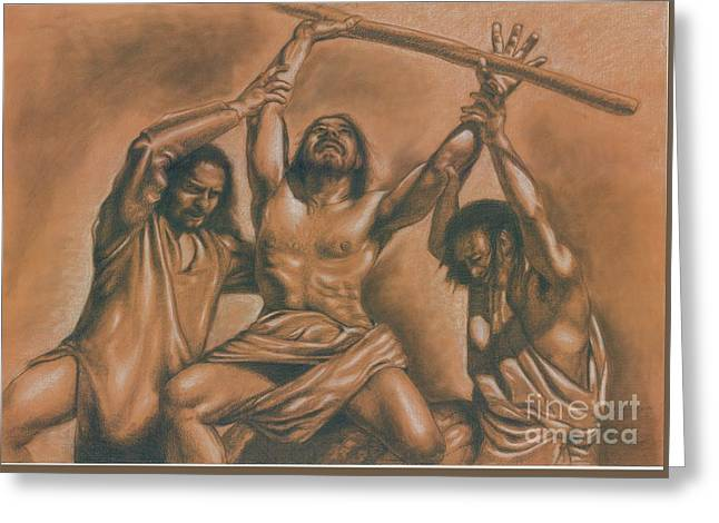 Bible Pastels Greeting Cards - The battle against Amalek Greeting Card by Marco Barucco