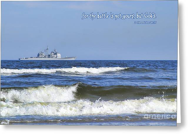 Surf City Greeting Cards - The Battle Belongs To God Greeting Card by Diane Macdonald