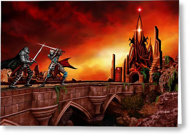 Copyrighted Greeting Cards - The Battle for the Crystal Castle Greeting Card by James Christopher Hill