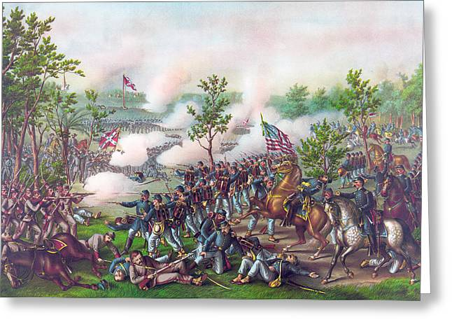 The Battle Of Atlanta, Greeting Card by American School