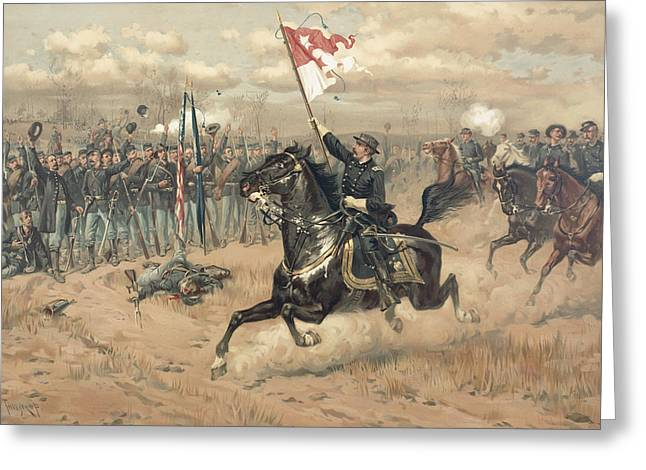 Cedar Creek Greeting Cards - The Battle of Cedar Creek Virginia Greeting Card by Thure de Thulstrup