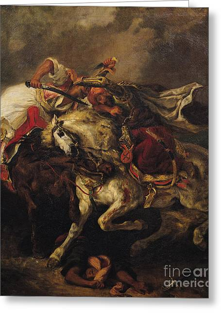 Horseman Greeting Cards - The Battle of Giaour and Hassan Greeting Card by Ferdinand Victor Eugene Delacroix