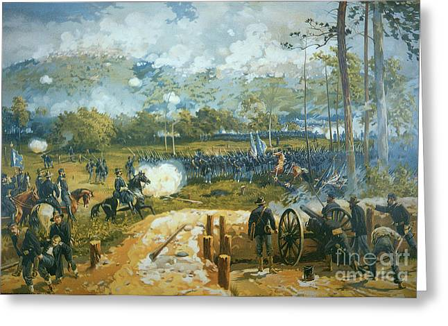 The Battle Ended In Confederate Victory; Greeting Cards - The Battle of Kenesaw Mountain Greeting Card by American School