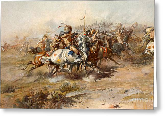 The Battle Of Little Bighorn Greeting Card by Charles Marion Russell
