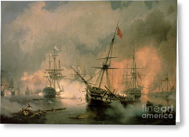 The Battle of Navarino Greeting Card by Ivan Konstantinovich Aivazovsky