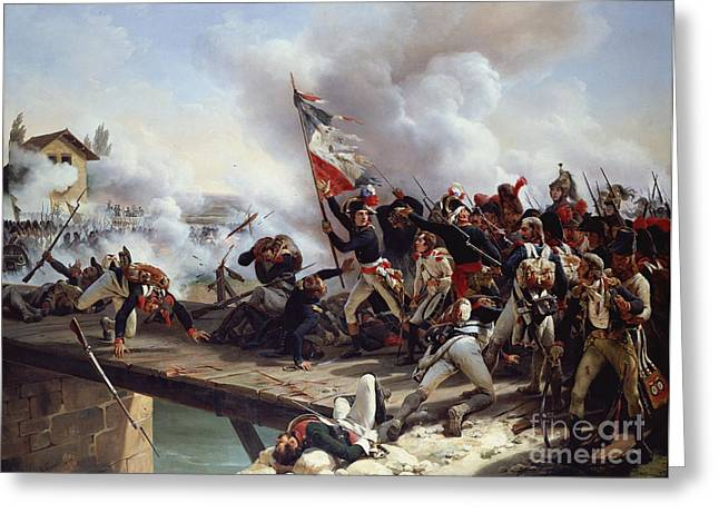 Troops Greeting Cards - The Battle of Pont dArcole Greeting Card by Emile Jean Horace Vernet