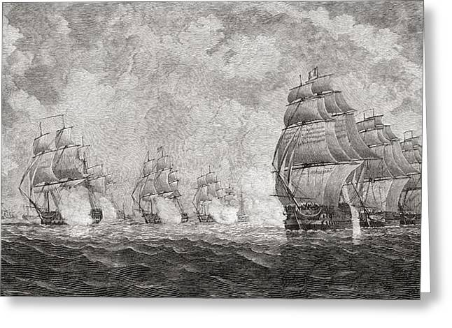 Aura Drawings Greeting Cards - The Battle Of Pulo Aura, 1804. From The Greeting Card by Vintage Design Pics