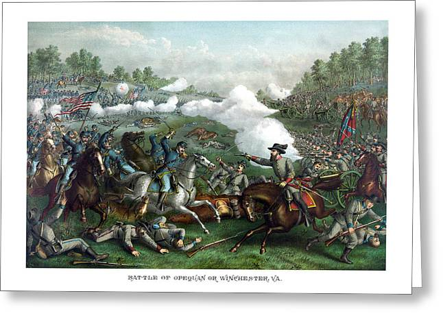 American Civil War Drawings Greeting Cards - The Battle of Winchester Greeting Card by War Is Hell Store